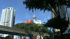 Kuala Lumpur elevated tracks and tower Stock Footage