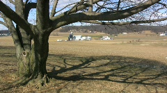 Tree shadow and a Lancaster farmstead Stock Footage