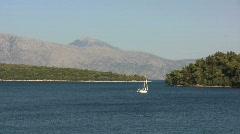 Lefkada sailboat in bay at Nidri Stock Footage