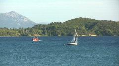 Lefkada sailboat sailing Stock Footage