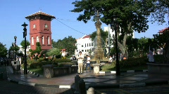 Malacca Dutch tower with fountain Stock Footage