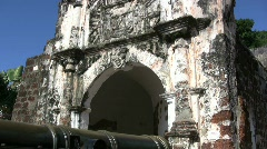 Malacca Port fort tilts up Stock Footage