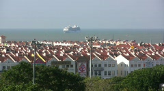 Malacca strait with cruise ship Stock Footage