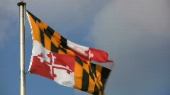 Maryland flag flying in the wind Stock Footage