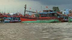 Mekong traditional boats Stock Footage