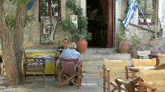 Men relaxing in Mesta on Chios Stock Footage