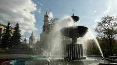 FOUNTAIN BY THE CATHEDRAL Stock Footage