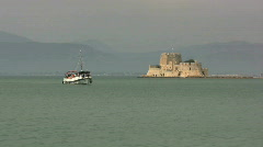 Nafplion Greece, harbor with a small fort Stock Footage