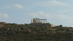 Poseidon's Temple at Cape Sounion Greece Stock Footage