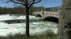 Niagara River rapids under bridge Stock Footage