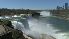 Niagara Falls with Canadian city Stock Footage