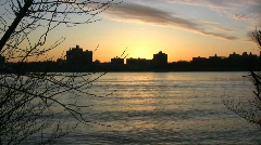 Ripples in the Hudson at dawn Stock Footage