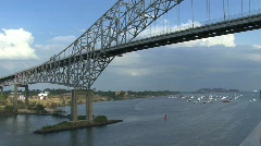 Panama Canal Bridge of the Americas Stock Footage