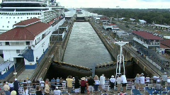 Panama Canal Passanger on ship in Gatun Locks Stock Footage