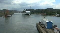 Panama Canal Ship approaching Pedro Miguel Locks Stock Footage