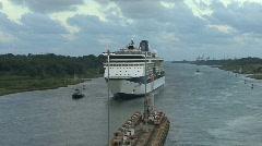 Panama Canal cruise ship near the Gatun Locks  Stock Footage