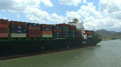 Panama Canal Container ship Stock Footage