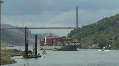 Panama Canal ship under Centennial Bridge Stock Footage