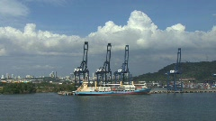 Panama Canal ship at loading cranes Stock Footage