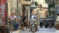 Motor scooter in Prigi village Chios Stock Footage