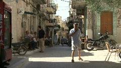 Prigi village Chios street scene Stock Footage