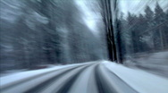 Highspeed country roads in winter time lapse Stock Footage