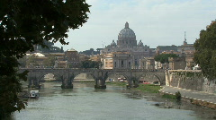 Rome Tiber and St. Peters dome - stock footage
