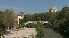 Rome Tiber island & bridge Stock Footage