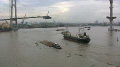 Ships on the Saigon River Stock Footage