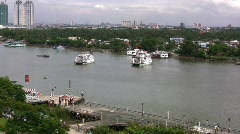 Ferries crossing the Saigon River Stock Footage