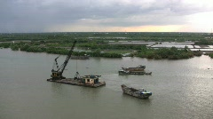 Saigon River dredge - stock footage