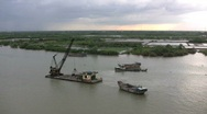 Stock Video Footage of Saigon River dredge