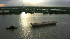 Tug and barge Saigon River - stock footage