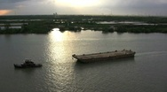 Stock Video Footage of Tug and barge Saigon River
