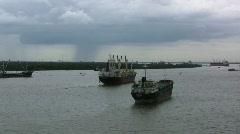 Saigon River ships Stock Footage