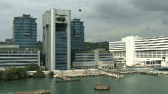 Singapore building from cruise ship leaving  Stock Footage