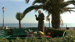 Statue of Padre Pio in Italy Stock Footage