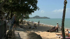 Thailand Kho Samui beach with people Stock Footage