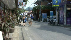 Thailand Kho Samui street with tourists Stock Footage