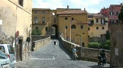 Tuscania bridge and city gate Stock Footage