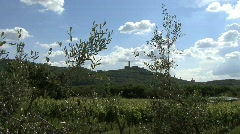 Tuscany castle & olive branches Stock Footage
