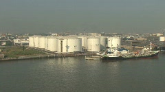 Oil storage tanks by the Chao Phraya Stock Footage