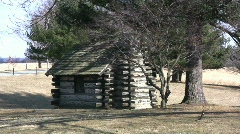 Valley Forge log cabin Stock Footage