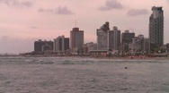 Shore of a city at sunset - Time lapse Stock Footage