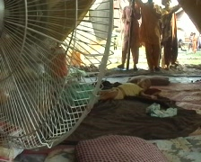 Baby Refugee Sleeping in his tent in Swat, Pakistan - stock footage