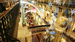 View from sideways of third floor of GUM with New Year's ornaments Stock Footage