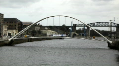 Drogheda Timelapse of an Irish Town 04 Footbridge accross the water Stock Footage