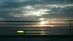 View on sunset on sea from ship deck Stock Footage