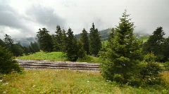 Alps railroad travel. View from moving train. - stock footage