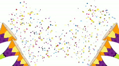 Confetti Trumpet (White Background) HD Stock Footage